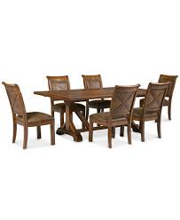 mandara 7 pc dining room set dining trestle table u0026 6 side