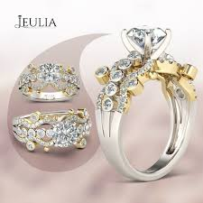 Jeulia Wedding Rings by Two Tone Curving Round Cut Created White Sapphire Engagement Ring