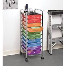 seville classics 10 drawer organizer cart translucent multi color