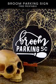 halloween craft broom parking sign mod podge rocks
