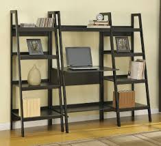 Small Desk Bookshelf Furniture Exciting Ladder Bookshelves With Small Desk And Wood