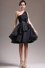 black one shoulder knee length organza a line cocktail dress 1