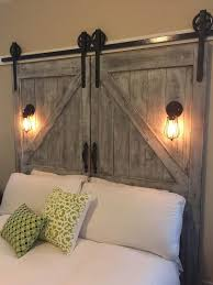barn door side table diy barn door headboard clear lacquer iron wood bed brown varnish