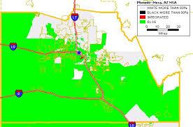 mesa az map black white housing patterns in