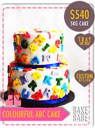 Cake Decorating Singapore Customized Cakes 2 Tier Fondant Colourful Abc Cake Bakebabe