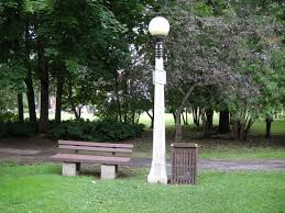 typical park bench lamp and waste bin macdonald gardens