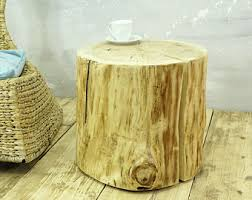 wood stump stool clone tree trunk bedside stump table natural