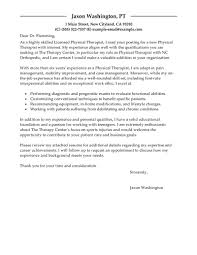 Cover Letter Examples Email Best Physical Therapist Cover Letter Examples Livecareer