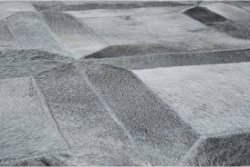 Silver Cowhide Rug Gray Leather Area Rug Cube Design Shine Rugs