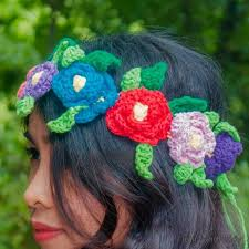 crochet flower headband flower crown free crochet pattern