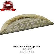 brown round mosaic cowhide rug 6sq ft