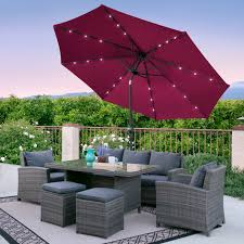Patio Umbrellas With Led Lights by Bcp 10ft Deluxe Patio Umbrella W Solar Led Lights Tilt
