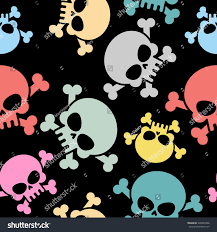 halloween background colors skull bones seamless pattern colored deaths stock illustration
