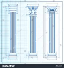 doric ionic corinthian classic greek column stock vector 89753428