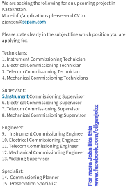 commissioning engineer and gas technicians supervisors engineers specialist for
