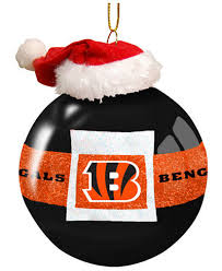 memory company cincinnati bengals glass santa belt ornament