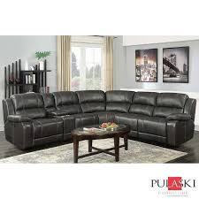 Pulaski Sectional Sofa Pulaski Dunhill Grey Leather Power Reclining Sectional Sofa All