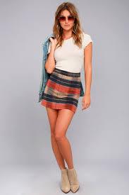 plaid skirt beige plaid skirt plaid mini skirt a line skirt