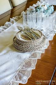 Farmhouse Table Runner I Should Be Mopping The Floor Lace And Drop Cloth Table Runner