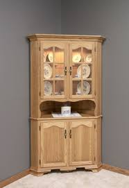 Kitchen Curio Cabinet Chic Brown Color Wooden Kitchen Corner Curio Cabinet Featuring