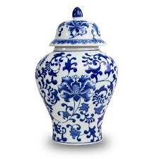 cremation urn ceramic temple cremation urn blue floral