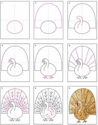 draw thanksgiving turkey how to draw a turkey art projects for kids