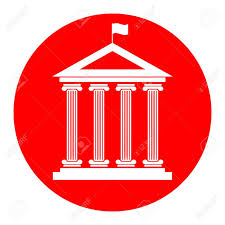 Flag Circle Historical Building With Flag Vector White Icon In Red Circle On