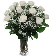 Long Stem Rose 12 White Long Stem Roses Funeral Flower Arrangements Canada