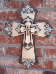 Home Decor Crosses | black stain studs metal would love it in black and red crosses