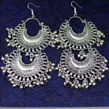 Buy Tribal German Silver Jhumka German Silver Afghani Double Chandbali Earrings Beadsobling Com