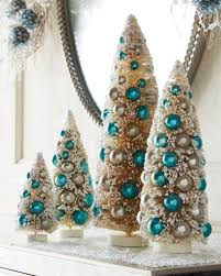 Christmas Tree With Blue Decorations - christmas decor everything turquoise