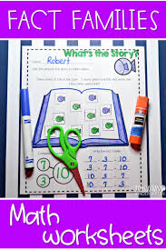 addition with fact family worksheet for kindergarten students