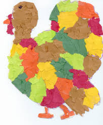 tom turkey torn paper collage thanksgiving projects for
