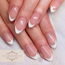 cnd shellac french manicure almond shape nails nails