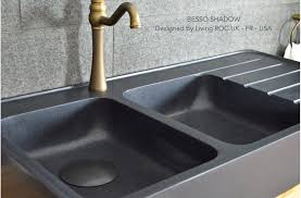 Double Bowls Black Granite Kitchen Sink BESSO SHADOW - Black granite kitchen sinks