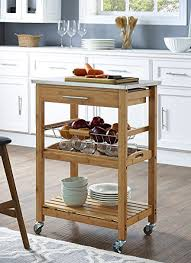 stainless steel top kitchen cart amazon com boraam 50651 aya bamboo kitchen cart with stainless