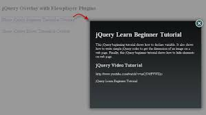 jquery design elements jquery overlay effect with flowplayer plugins jquery and webpage