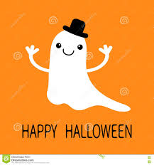 happy ghost clipart funny flying baby boy ghost with black hat smiling face stock