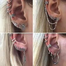 ear earrings women bohemian antique silver alloy ear cuff clip stud earrings