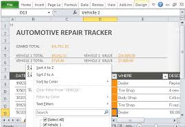 fleet report template car repair tracker template for excel 2013