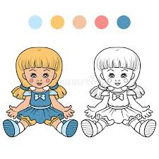 coloring book children doll stock vector image 48485785