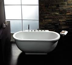 bathroom freestanding tubs with small glass windows and brown
