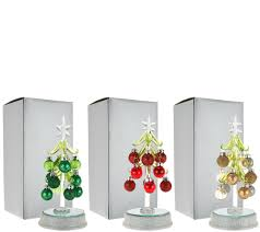 kringle express s 3 lit glass trees with ornaments in gift boxes