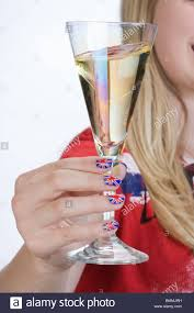 British Flag Nails 13 Years Holding A Glass Of Champagne In His Hand Nails
