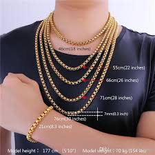 chain necklace sizes images 2018 u7 7mm 5 sizes 18k gold plated box chains classical necklace jpg