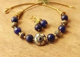 necklace set blue stone images Antique gold tone blue stone necklace set statement necklace at jpg