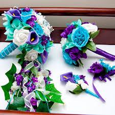 blue and purple wedding cascading silk flower bridal wedding bouquet in purple aqua teal