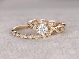 yellow gold wedding ring sets moissanite wedding ring set etenrity band yellow gold