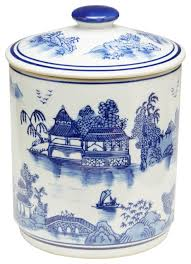 blue and white oriental jar with lid asian kitchen canisters