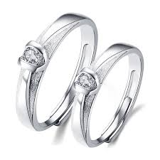 platinum sterling rings images Adjustable dull polish platinum plated 925 sterling silver couple jpg